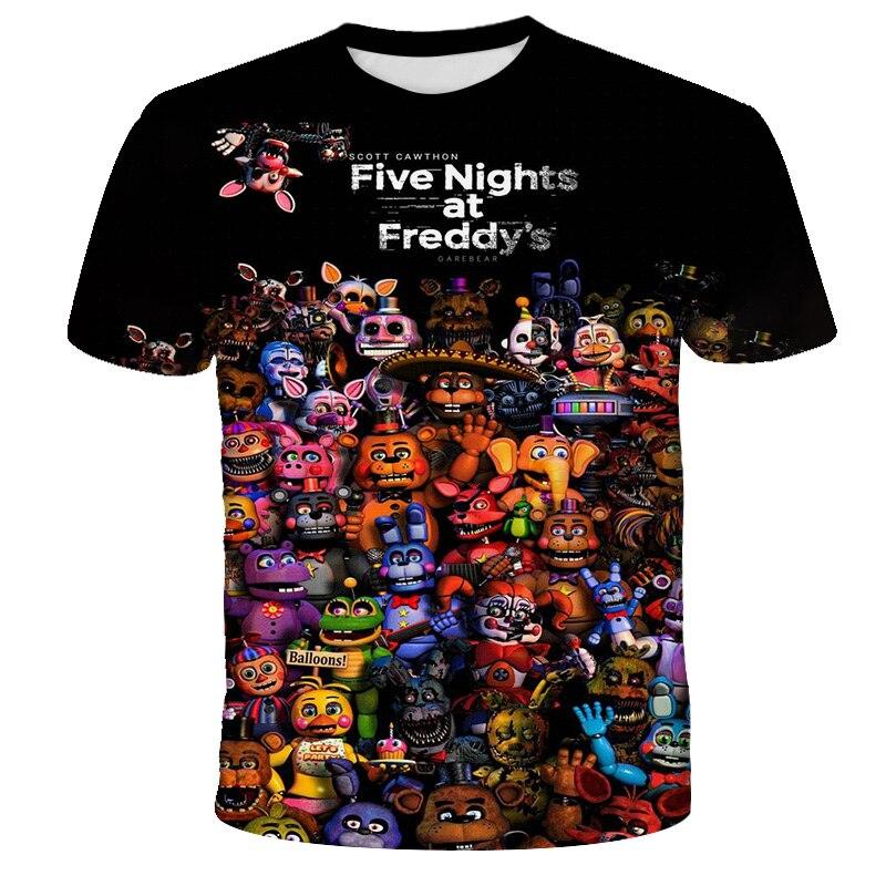 Одежда для мальчиков; Футболки; 5 ночей в Фредди 3D Футболка с принтом для мальчиков и девочек, модная футболка с короткими рукавами футболка ...
