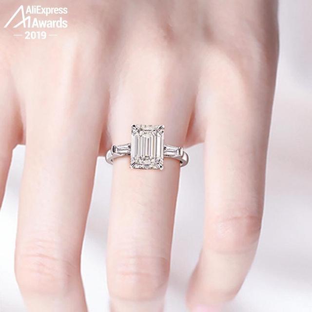 11*8mm Emerald Cut   S925 Sterling Silver Ring SONA Diamond Halo Fine citrine sapphire amethyst ruby coloured diamond