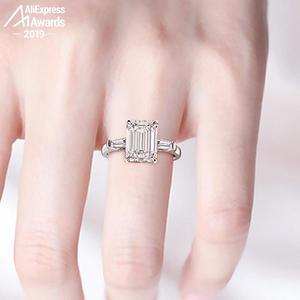 Image 1 - 11*8mm Smaragd Cut S925 Sterling Silber Ring SONA Diamant Halo Feine citrin sapphire amethyst rubin farbigen diamanten