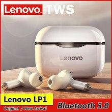 سماعة أذن لاسلكية جديدة أصلية من Lenovo LP1 TWS مزودة بتقنية البلوتوث 5.0 مع إستيريو مزدوج للحد من الضوضاء مع خاصية التحكم باللمس مع وضع الاستعداد ال...