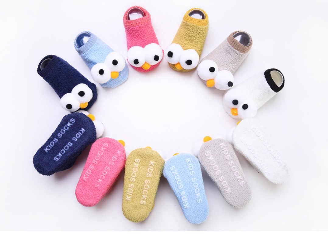 Calcetines antideslizantes de algodón para recién nacidos, Calcetines antideslizantes para bebés, calcetines cálidos para niños y niñas, con dibujos animados bonitos, con patrón de ojos grandes