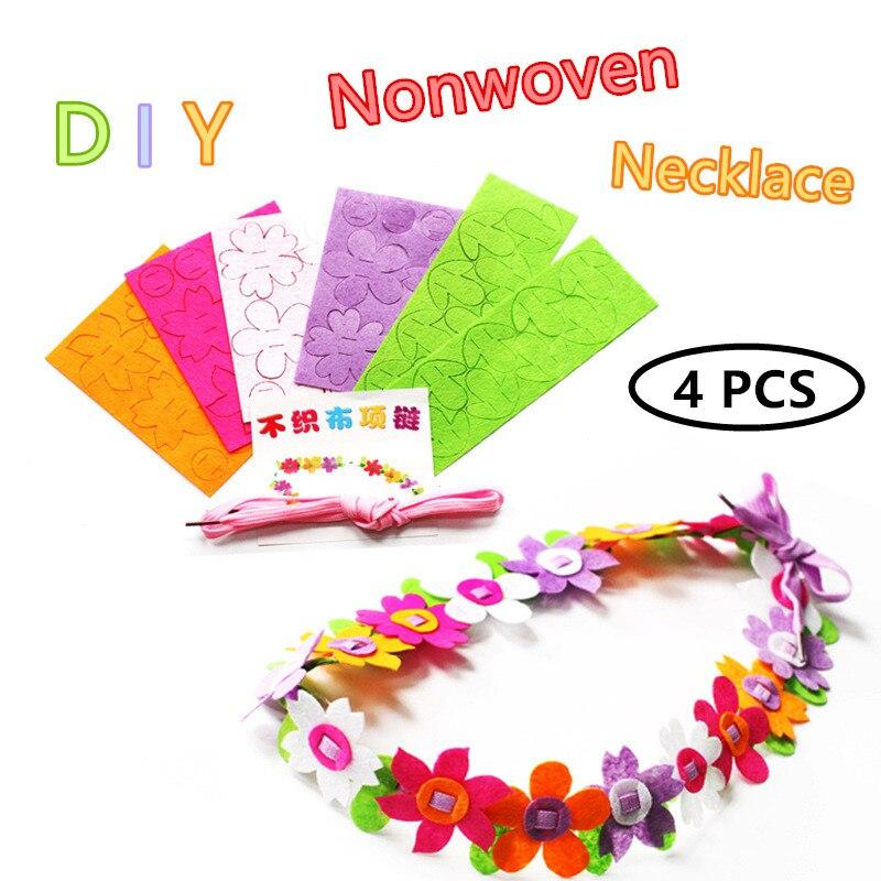 NEW 4pcs/lot Felt Fabric Flower Necklace Handmade DIY Art Crafts Toys Children Wreath Kindergarten Creative Toys For Girls