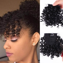 цена на JINKAILI Afro Kinky Curly Bang For Black White Woman Fake Fringe Clips In Bangs Wig Hair Natural Black Synthetic Hair Extension