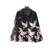 Unisex Harajuku Men Women Blouses Retro Printed and Ladies Long-Sleeve Vintage Femme Streetwear Japanese