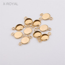 X-ROYAL 20Pcs/lot Inner 8mm Stainless Steel Gold Round DIY Blank Bases Double Hole Jewelry Connector Cabochon Earring Settings