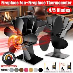 Black Fireplace 4/5 Blades Heat Powered Stove Fan Log Wood Burner Ecofan Quiet Home Fireplace Fan Efficient Heat Distribution