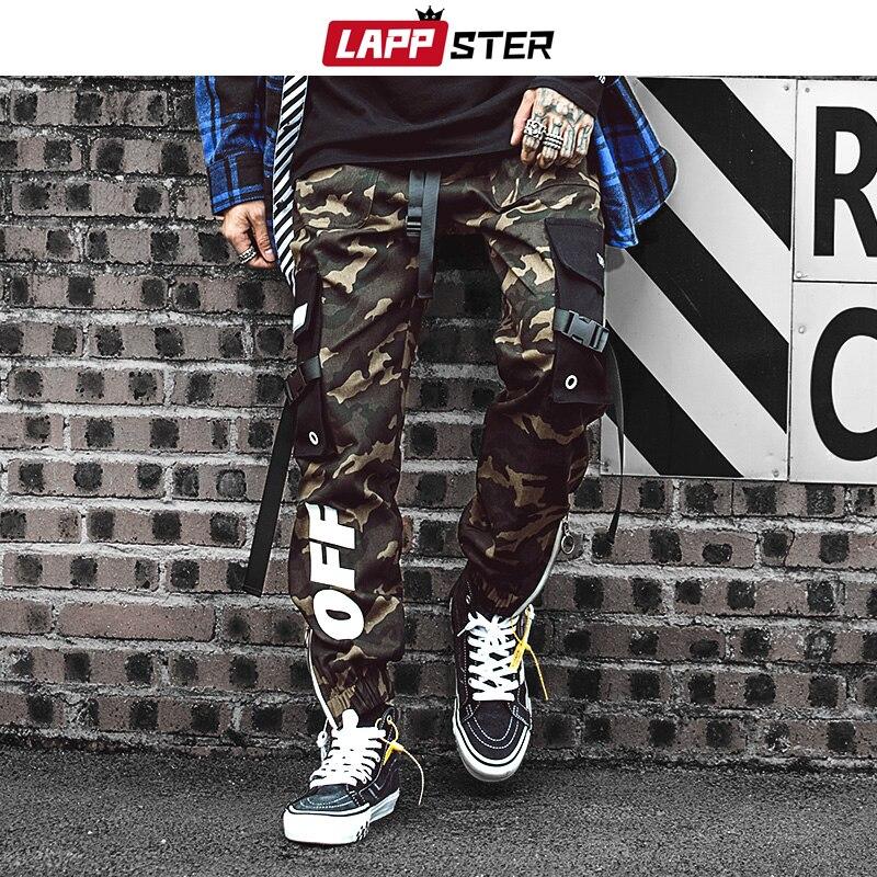 LAPPSTER Men Streetwear Ribbons Cargo Pants 2020 Mens Camouflage Joggers Hip Hop Korean Fashions Designer Camo Sweatpants INS
