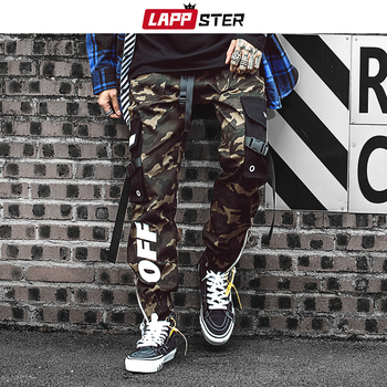 LAPPSTER Men Streetwear Ribbons Cargo Pants 2020 Mens Camouflage Joggers Hip Hop Korean Fashions Designer Camo Sweatpants INS