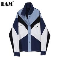 [EAM]-chaqueta vaquera holgada con solapa nueva para mujer, Color azul, Color azul, talla grande, manga larga, moda Primavera otoño 2021, 1DB903