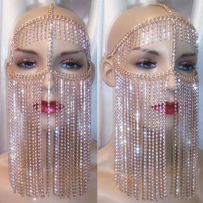 Punk Alloy Mask Tassel Rhinestone Belly Dance Performance Accessories Nightclub Bar Party DJ DS Female Singer Headdress DWY2906