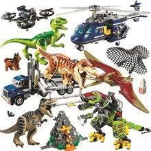 Bloques de construcción de la serie mundo de dinosaurios para niños, tiranosaurio, bloques de construcción, Parque jurásico, compatibles, juguete