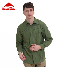ROYALWAY уличная тактическая Мужская многофункциональная рубашка дышащая быстросохнущая УФ-защита полная рыболовная рубашка RIM7037CS