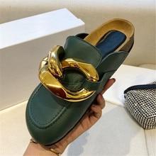 Neue Mode Casual Unisex Faulenzer Echtem Leder Metall Kette Maultiere Runde Kappe Flache Clogs Handgemachte Cosy Schuhe Outdoor Hausschuhe