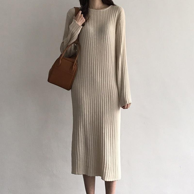 Women Knitted Long Dress Elegant Ladies O-neck Solid Sweater Dress Autumn Winter Casual Knit Female Straight Soft Midi Dress