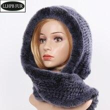 Hooded Scarf Women Winter Scarves-Caps Warm Female Rex-Rabbit-Fur Soft Fashion Real Muffler
