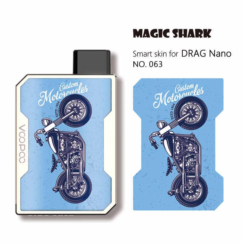 קסם כריש אופנה אופנוע צבא עלה סלולרי גולגולת PVC Vape Pod מקרה מדבקת עור סרט עבור Voopoo גרור ננו