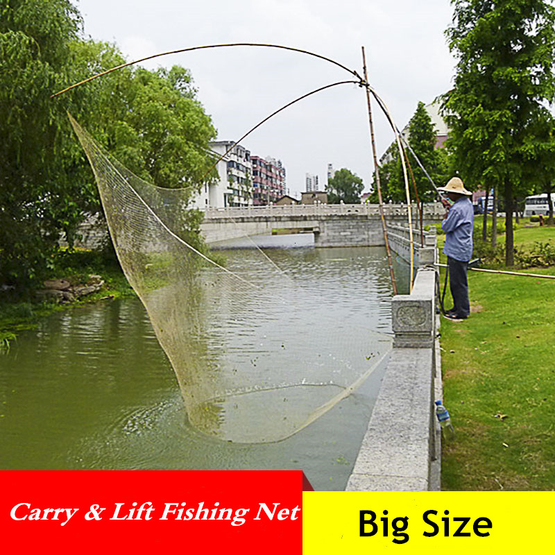 Large Capacity Foldable Fishing Net Outdoor Automatic Catch Fish Tool Lift Net Fishing Gear Trawl Net Small Mesh Fishing Network