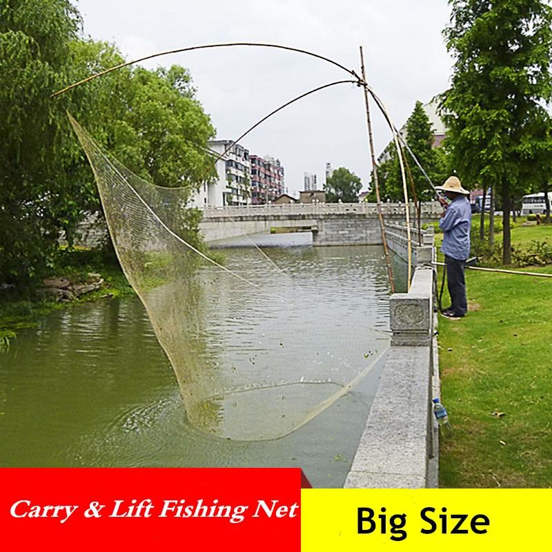 Large Capacity Foldable Fishing Net Outdoor Automatic Catch Fish Tool Lift Net Fishing Gear Trawl Net Small Mesh Fishing Network