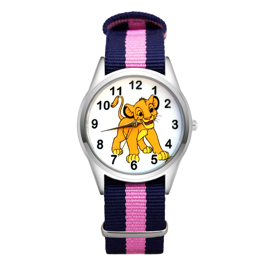 Cartoon Simba lion king style Watches Women's Girls Students Boy's Children Nylon Strap Quartz Wrist Watch JC114