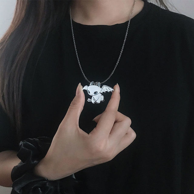 Fashion Cartoon Necklace Black and White Night Evil Double Dragon Personality Hip Hop Couple Friends Gift Pendant 3