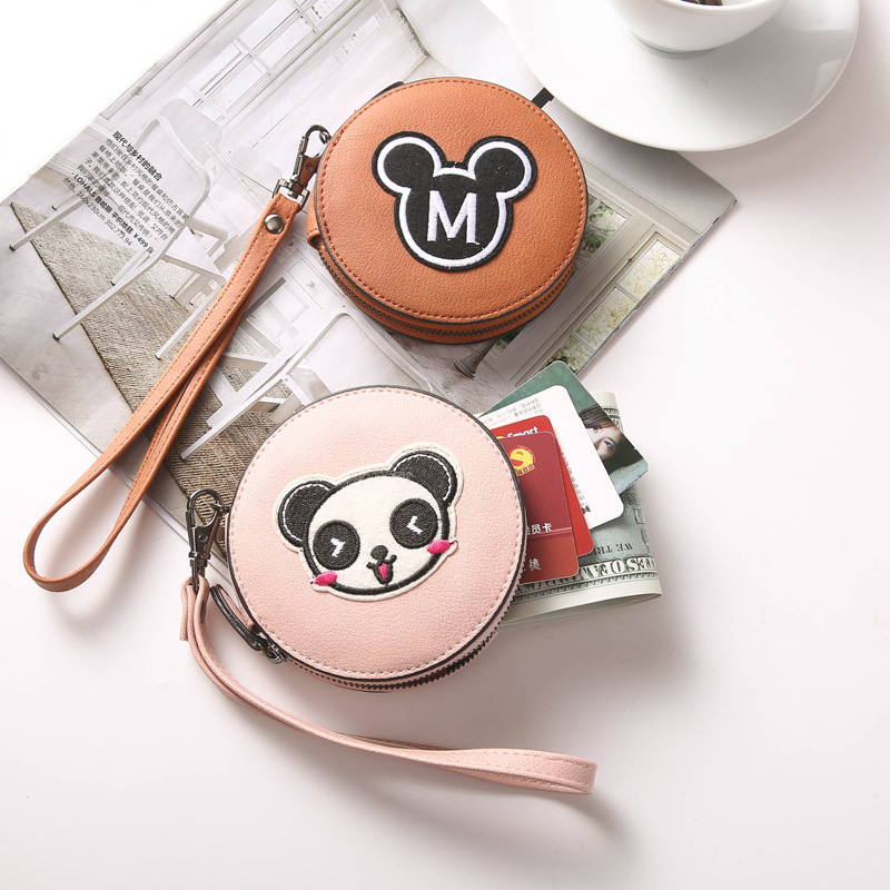 New Style Wallet Circle Purse Mini Coin Bag Korean-style Cute Cartoon Male STUDENT'S Storgage Bag Wrist Strap