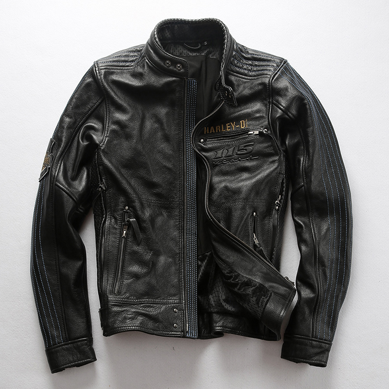 2020 Fashion Genuine Men Slim Fit Profession Motorcycle Biker Jacket Stand Collar Cowskin Real Leather Coat