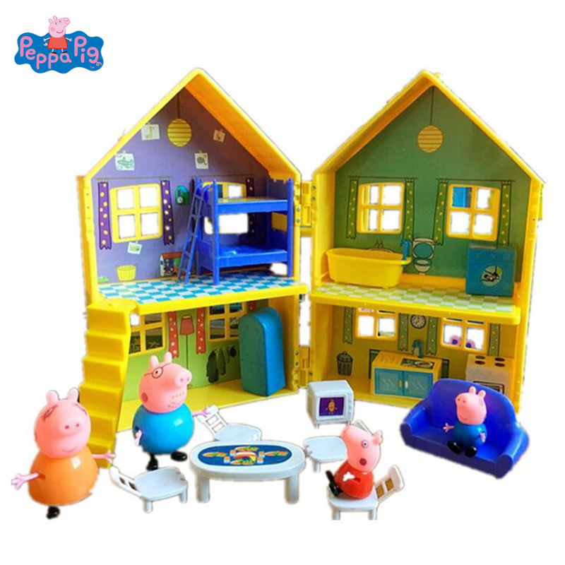 Peppa Pig Villa Deluxe House Peppa George Pig Family PVC Action Figure Toy Pretend Playset Kid Birthday Christmas New Year Gift