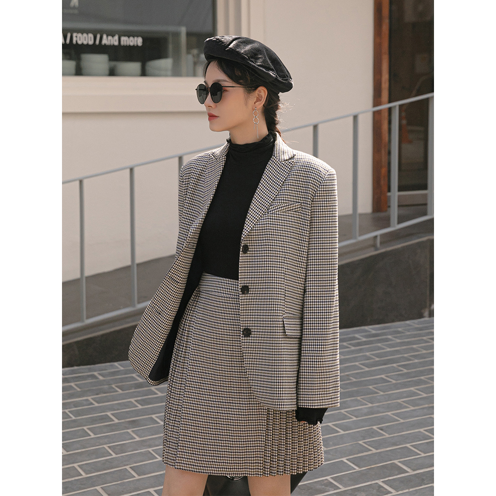 Women 2 Pieces Sets Plaid Tweed Blazer Jacket And Pleated Skirts Suit 2019 Autumn British Style Skirt Suit Female Outwears