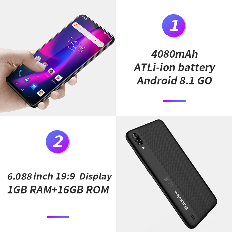 Blackview A60 3G Mobile Phone Android 8.1 Smartphone Quad Core 4080mAh Cellphone 1GB+16GB 6.088 Inch 19.2:9 Screen Dual Camera