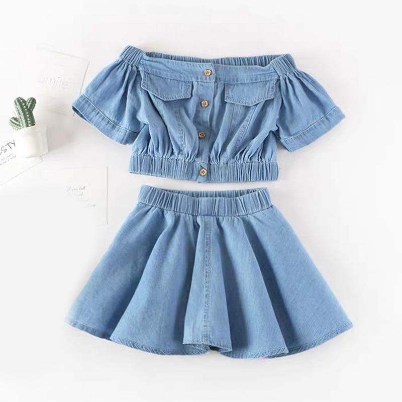 Summer Girls' Clothing Sets European & American Denim Suspender T-shirt+ Skirt 2PCS Baby Kids Clothes Suit Children Clothing