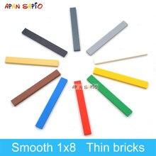 100 adet DIY yapı taşları Figure tuğla pürüzsüz 1x8 10 renkler eğitim yaratıcı boyutu ile uyumlu 4162 oyuncaklar çocuklar için