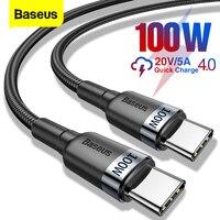 Baseus-Cable USB tipo C de 100W, Cable de carga rápida USBC PD, USB-C, 5A, para Xiaomi POCO X3, M3, Samsung, Macbook, iPad
