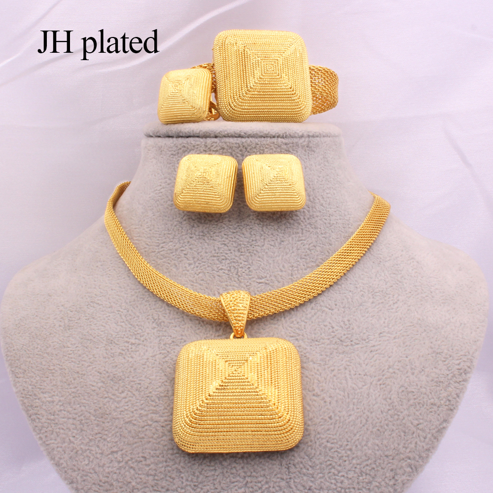 Dubai gold 24K Jewelry sets for women African bridal Wedding gifts party Necklace square earrings ring bracelet jewellery set 2