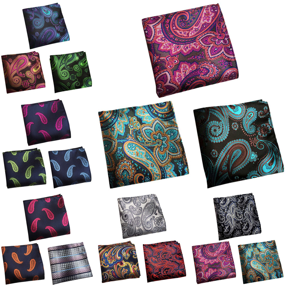 3 Packs Men's Classic Paisley Floral Pocket Square Wedding Party Handkerchief BWTHZ0366