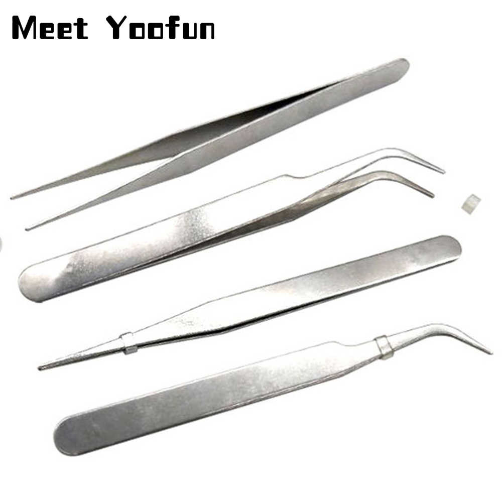 Precision Anti-static Tweezers Set with Fine Tips Stainless Steel ESD Tweezer Electronics Repair Tools