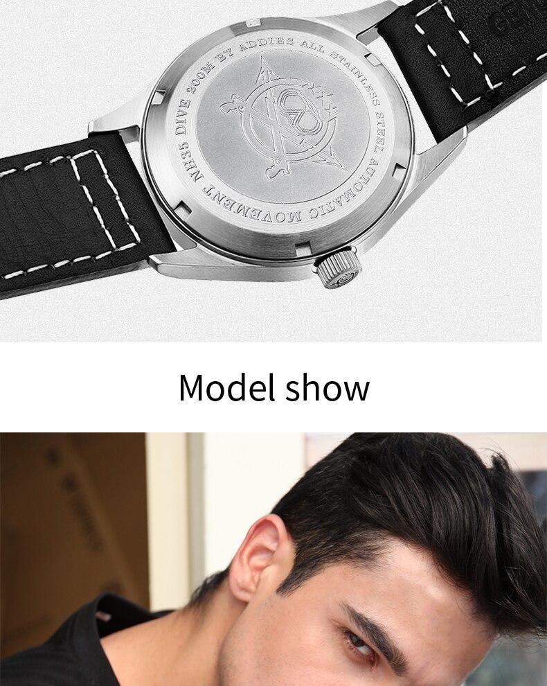 relógio de pulso masculino, de couro, com