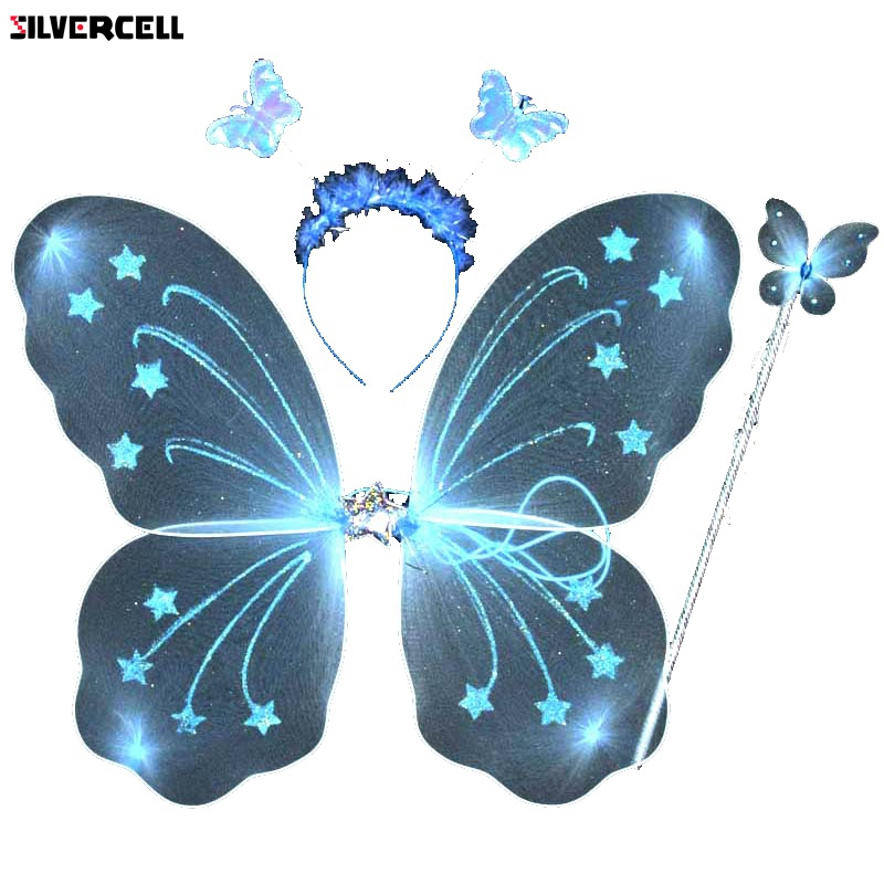 Lovely 3Pcs Girl Kids Butterfly Wing Wand Headband Fairy Xmas Costume Set
