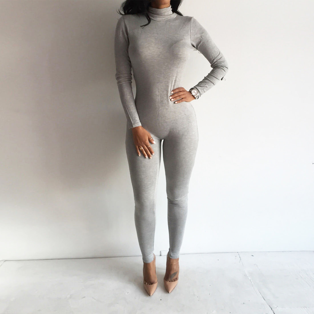 2019 Women Jumpsuit Turtleneck Long Sleeve Bodycon Cotton Grey/Black Rompers New Casual Solid Autumn Winter