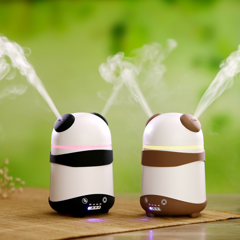 2 Mist Outlet Led Light Mini Ultrasonic Aromatherapy Diffuser Cartoon Panda Aroma Diffuser Essential Oil Air Humidifier for car