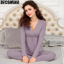Women Maternity Pajamas Pregnant Maternity long Sleeve Cute Print Nursing Nightwear Breastfeeding Pa