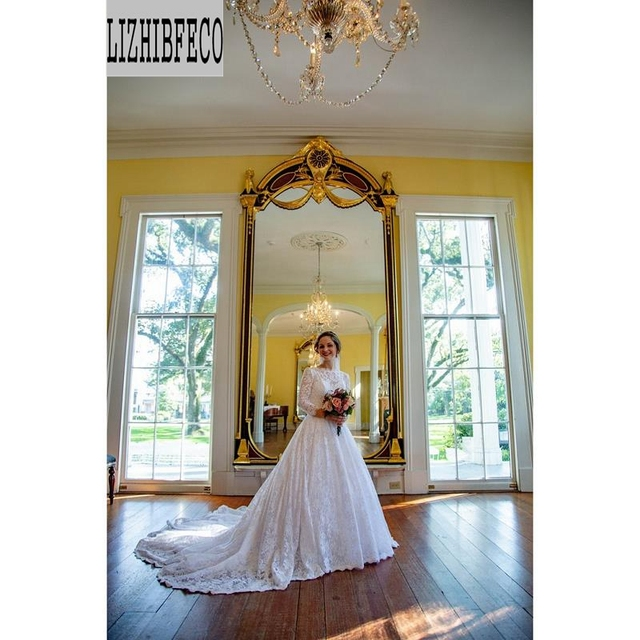 White lace Satin  Long Sleeves Floor -Length A-line Wedding dress Chapel train Custom made
