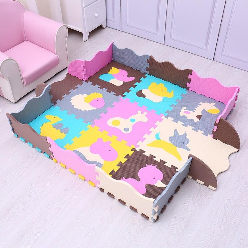 EVA bébé tapis de jeu 9 pièces mousse puzzle tapis pour enfants gym bébé activité doux étage numéros animaux modèle jouets Mei Qi Cool - 4