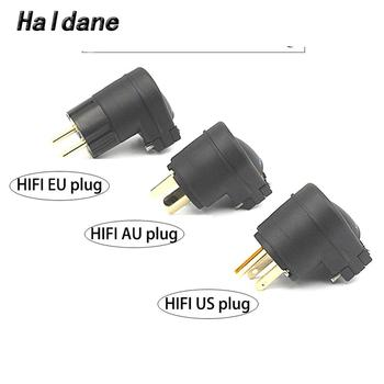 Haldane pai HIFI 90 degree Gold Plated EU/US/AU Power Plug IEC Connector for DIY Speaker Amplifier AC Power Cord Cable