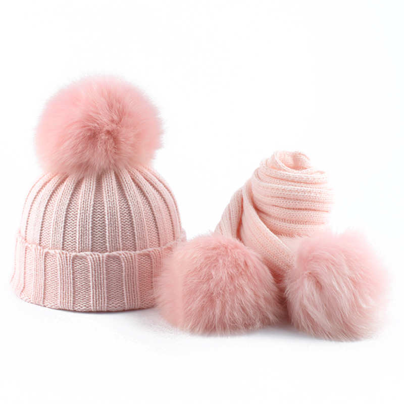 Baby Winter Hat And Scarf For Girls Boys Children Real Fox Fur Pompom Knitting Beanie Hats Kids 3 Pieces Pom Pom Hat