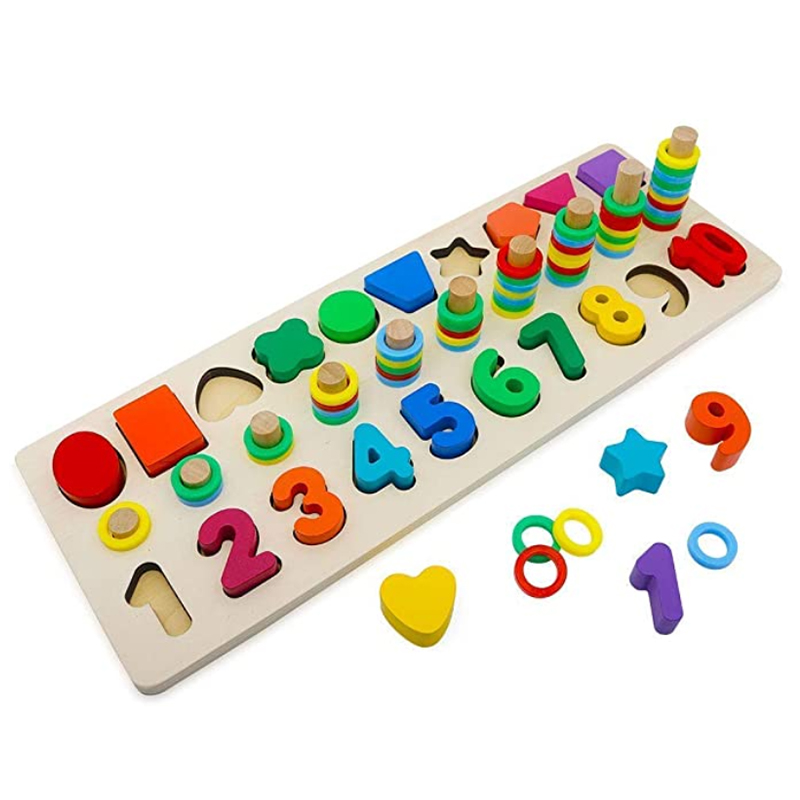 Wooden Blocks Puzzles Kids Toys for Toddlers Preschool Teaching Early Education Toys for Counting the Numbers