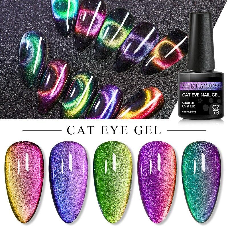 Встретить поперечный Гель-лак для ногтей с эффектом «кошачий глаз» лак 9D лазерный магнитный лак отмачиваемый УФ-светодиодный мерцающий маг...