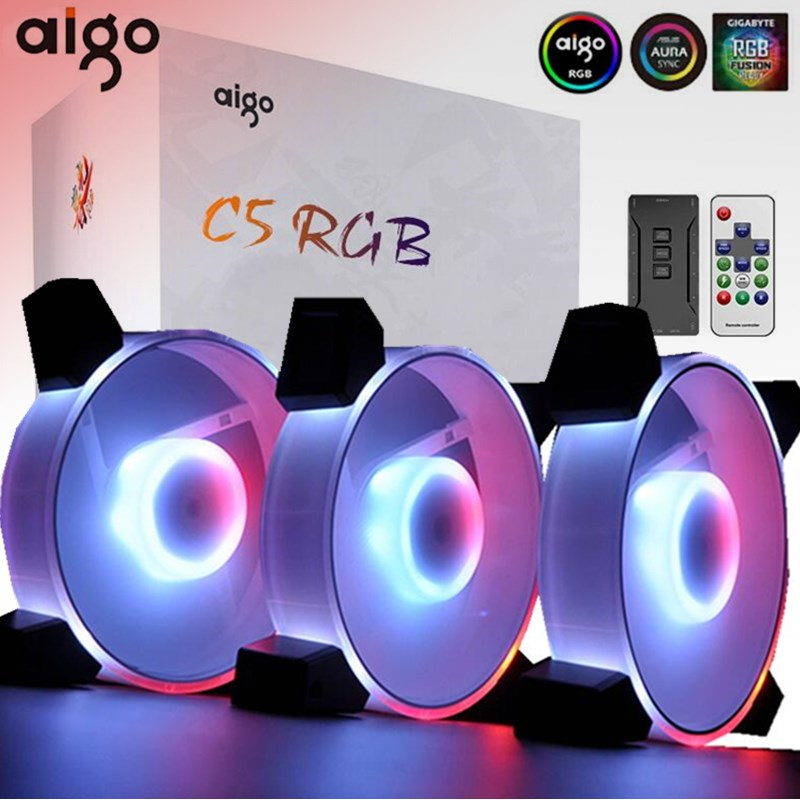 Aigo C3 RGB Fan 120mm LED PC Computer Case Fans Cooling Adjust Case Fan RGB Quiet Remote 5v 3pin Aura Sync Computer CPU Cooler(China)
