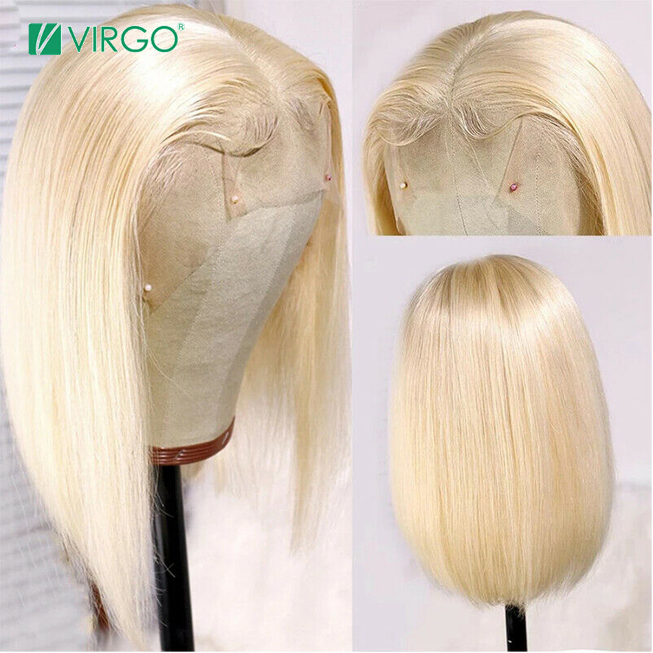 Virgo 13X4 Short Bob Wig 613 Blonde Lace Front Human Hair Wigs Pre Plucked With Baby Hair Blonde Straight Lace Front Wig Remy image
