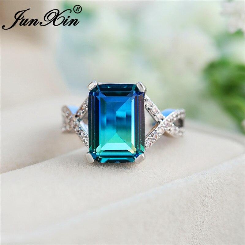 Винтажное кольцо с крестиком из белого золота, прямоугольные кольца с радужным огнем и кристаллами для женщин, обручальные кольца с розовым...