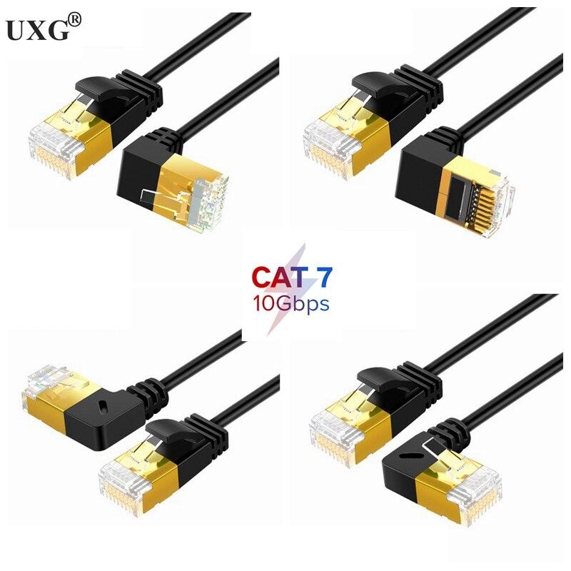 Ethernet тонкий кабель RJ45 Cat7 6 Lan ультратонкий кабель UTP RJ45 сетевой кабель для Cat6 совместимый патч-корд 90 градусов прямоугольный